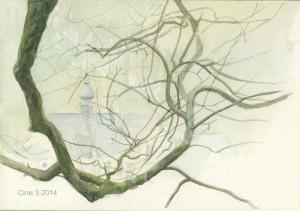 Cine - vue sur les thermes de Chaudfontaine, aquarelle 2014