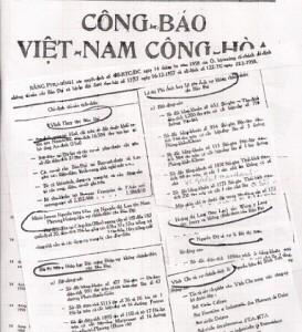 Tờ công báo Việt Nam Cộng Hòa tịch thu tài sản của vua Bảo Đại. Ảnh: gia đình Bảo Ân