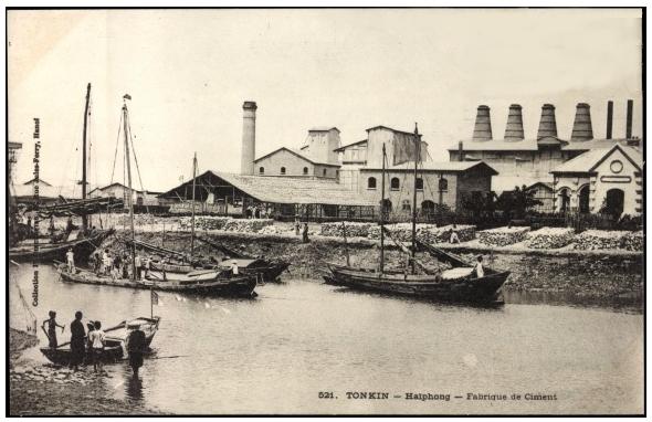 Nhà máy ci măng Hải Phòng thời thuộc Pháp (carte postale)
