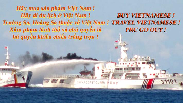 7g30 sáng 12-5, một trận đấu vòi rồng dữ dội giữa một  tàu kiểm ngư Việt Nam và 15 tàu hải giám, hải cảnh Trung Quốc đã diễn ra tại khu vực Trung Quốc hạ đặt giàn khoan HD-981 của công ty CNOOC China một cách xâm phạm lãnh thổ và chủ quyền trên vùng biển của Việt Nam. Nguồn: Báo Tuổi Trẻ TPHCM