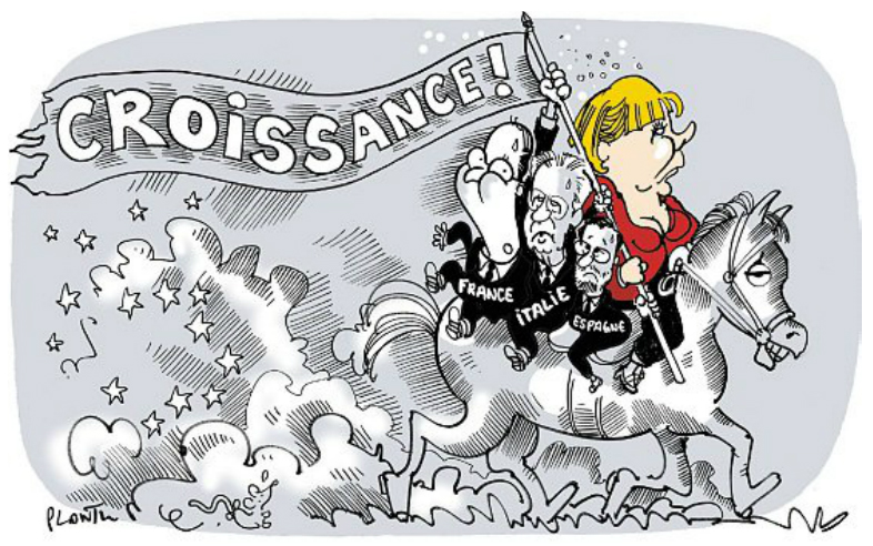 Caricature de Plantu, vers la Croissance Européenne