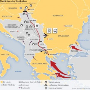 Một trong những đường di tản Nam Balkan từ biển Địa Trung Hải ngược lên các nước Đông Âu và Tây Âu ở phía bắc. Photo: tạp chí Der Spiegel