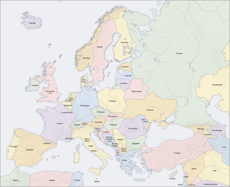 Bản đồ châu Âu và Trung Đông