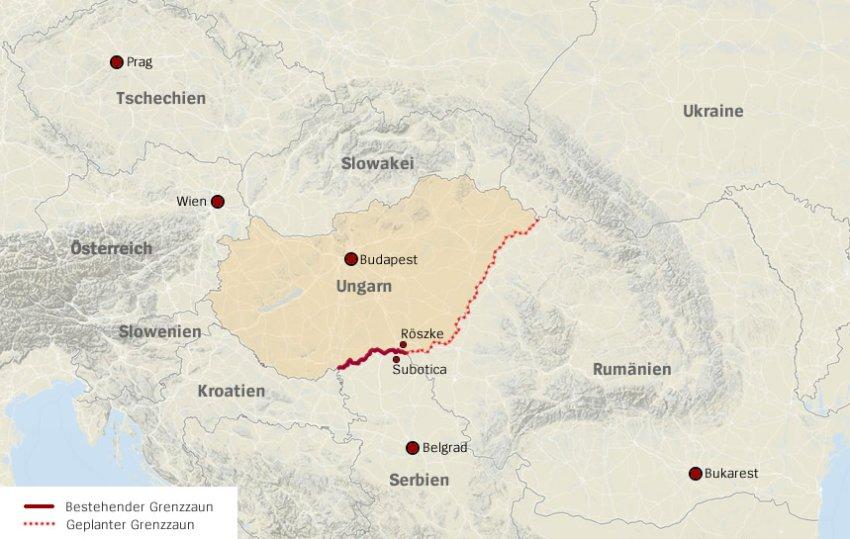 Hàng rào kẽm gai tại biên giới Hung - Serbie (tô mầu đỏ) - Người di tản di chuyển từ Đông sang Tây, đến biên giới Serbie và Croatie - Photo: Der Spiegel